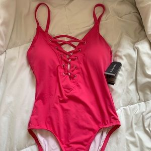 Pink Nautica Lace Up One Piece Swimsuit NWT Size M
